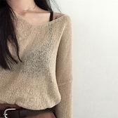 毛衣女長袖冰絲薄針織衫上衣套頭罩衫072004A#KT1F-089紅粉佳人