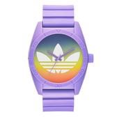 adidas 街潮繽紛三葉休閒腕錶-漸層x紫