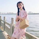 旗袍 新款夏季女裝中國風盤扣唐裝洋裝旗袍改良少女碎花裙子學生·夏茉生活