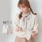 襯衫 鬆緊縮袖排釦綁蝶結立領上衣-BAi白媽媽【305005】
