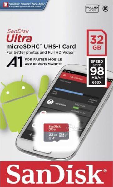 SANDISK 32G ULTRA microSD 98MB/S UHS-I C10 A1 記憶卡 32GB 紅灰