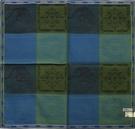 VERSACE太陽圖騰方格純棉手帕領巾(藍綠色)989017-5