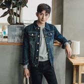 單寧牛仔外套 男 春秋季外套款長袖正韓帥氣青年修身夾克裝復上衣潮流-小精靈
