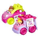 【奇買親子購物網】MEGA BLOKS-美高粉紅積木小車系列/隨機出貨-校車芮茜/敞篷車凱瑟
