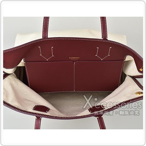 BURBERRY SOCIETY紅字LOGO棉質帆布飾牛皮邊手提肩背托特包(米白x石榴紅)