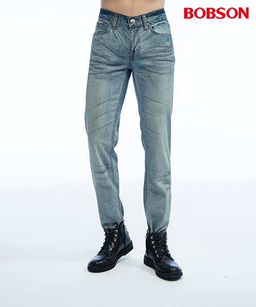 BOBSON 男款低腰壓摺半舊直筒褲(1807-53)