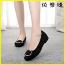 【快樂購】布鞋 布鞋時尚百搭單鞋夏平跟黑色工作鞋