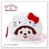 ♥小花花日本精品♥Hello Kitty x Monchhichi絨布造型化妝包收納包白色大臉帽子造型蝴蝶結 (預購)
