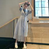 短袖洋裝 法國小 很仙的連衣裙2020新款仙女裙子超仙甜美收腰顯瘦氣質長裙