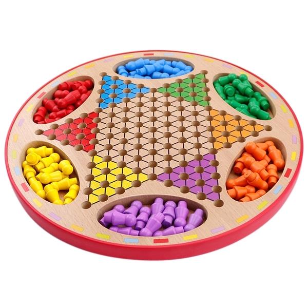 飛行棋 跳棋飛行棋二合一 兒童木質多功能桌面游戲棋 親子游戲益智玩具
