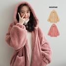 MIUSTAR Teddy熊!內鋪棉雙口袋拉鍊式羊羔毛連帽外套(共2色)【NH3261】預購
