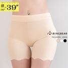 安全褲--顯瘦荷葉波浪超彈力冰絲薄款三分光澤內搭褲(白.黑.膚色XL-3L)-Z66眼圈熊中大尺碼