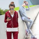 韓版休閒女裝跑步運動服套裝女連帽T恤三件套棒球服 果果輕時尚