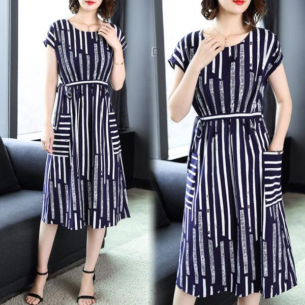 【名模衣櫃】氣質條紋雪紡連衣裙-藏青條紋-(M-2XL可選)  52009