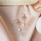新年耳飾 天然珍珠流蘇氣質花朵款新娘婚紗925銀耳釘耳夾耳環耳飾【快速出貨八折鉅惠】