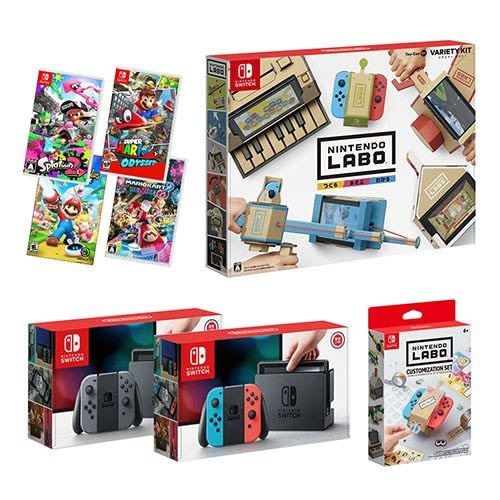 NS switch主機(送包+鋼化貼)+遊戲4選1+Labo Toy-Con01+ Labo裝飾套組