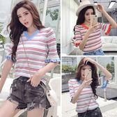 433#夏季新寬松彩色條紋V領韓版冰絲針織衫短袖上衣女DS1F-A15紅粉佳人