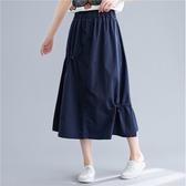 褲子 - B16515 簡約釦飾抽繩鬆緊長裙【F碼】MEET中大尺碼