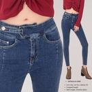 現貨◆PUFII-牛仔褲 不對稱腰頭彈力...