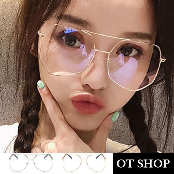OT SHOP眼鏡框‧韓系時尚不規則大框架網紅街拍平光眼鏡‧文青金屬框顯小臉‧現貨兩色‧U103