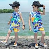 背心 兒童冰絲背心外穿夏裝超薄款男童寶寶無袖網眼小童夏季潮短褲套裝【快速出貨】