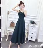 夏裝新款時尚氣質吊帶小禮服心機性感洋裝長裙子春款女裝潮 三角衣櫃