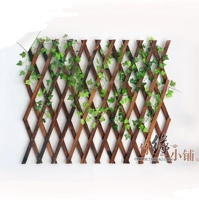 戶外防腐木柵欄伸縮實木籬笆爬藤架花園圍欄護欄墻面裝飾網格花架 星際小鋪
