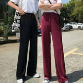 涼感寬褲銅氨絲闊腿褲女2020春夏季薄款高腰寬鬆顯瘦垂墜感冰絲拖地褲長褲