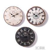 美式小復古靜音掛鐘北歐家用藝術時鐘臥室客廳裝飾創意簡約鐘錶鐘HM 3C優購