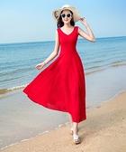 短袖洋裝—新款夏季無袖雪紡連身裙波西米亞長裙氣質修身海邊度假沙灘裙