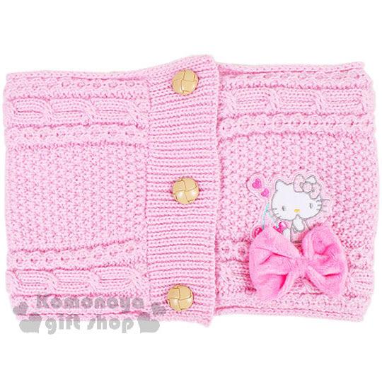 〔小禮堂〕Hello Kitty 兒童針織保暖圍巾《粉.坐姿.櫻桃.蝴蝶結》秋冬禦寒小物 4901610-79772