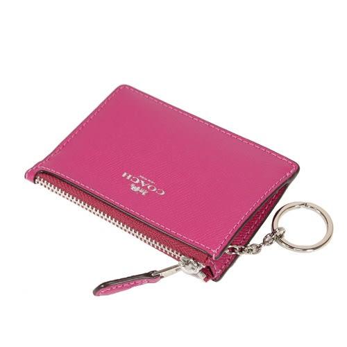 COACH 防刮皮革拉鍊證件零錢鑰匙包(桃紅)