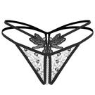 beauté浪漫-情趣鏤空 女內褲 性感 按摩珍珠 刺繡蕾絲 透明誘惑 t褲 低腰 丁字褲 FF_136