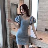夏季韓版潮新款收腰顯瘦泡泡袖牛仔短裙性感V領牛仔洋裝女 檸檬衣舍