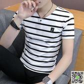 POLO衫  新款男士短袖t恤半袖個性條紋韓版潮流男裝修身丅上衣服 印象部落