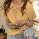 短袖POLO衫 短袖polo小衫T恤女夏秋修身冰絲針織上衣短款高腰緊身露臍打底衫寶貝計畫 上新