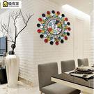 創意鐵藝歐式複古客廳掛鐘掛表簡約酒店牆壁裝飾靜音時鐘石英鐘表