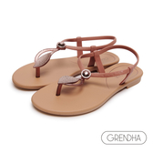 GRENDHA 神秘亞馬遜銅飾平底涼鞋-銅粉/金