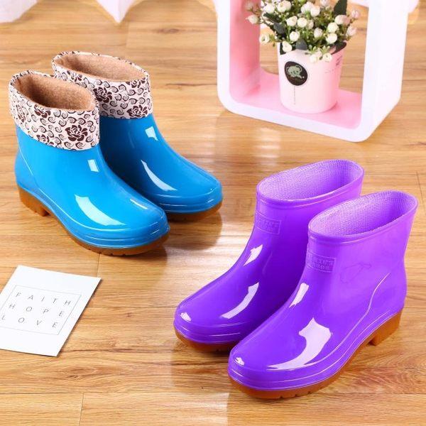 加棉雨鞋雨靴膠靴防水鞋女廚房保暖短筒膠鞋套鞋成人防滑冬季  歐韓時代
