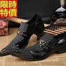 尖頭鞋真皮皮鞋質感紳士風-英倫時尚金屬環扣拼接低跟男鞋子65ai6【巴黎精品】