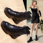 靴子馬丁靴女潮新款英倫風顯腳小厚底內增高春秋單靴機車短靴