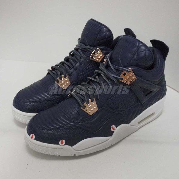 【US11-NG出清】Nike Air Jordan 4 Retro Premium 左中底/鞋頭發黃 深藍 玫瑰金 男鞋【PUMP306】 819139402~LR~3-429