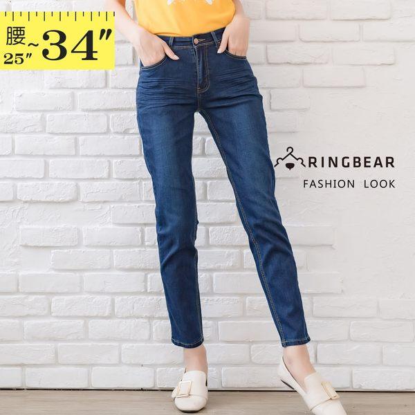 長褲--顯瘦質感後口袋金線刺繡中腰彈力小直筒牛仔褲(藍M-3L)-C113眼圈熊中大尺碼中大尺碼