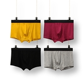 四條裝 男士內褲平角純棉無痕透氣薄款運動紅色底褲衩潮流寬鬆四角短褲頭 店慶降價