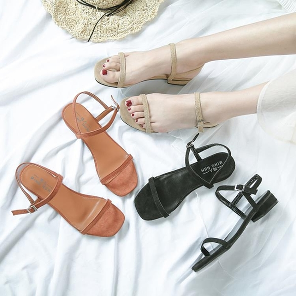 低跟涼鞋 仙女涼鞋女2021新款夏季韓版百搭粗跟露趾涼鞋女士一字扣女鞋低跟 晶彩 99免運