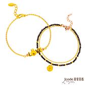 J'code真愛密碼 LINE我愛兔兔黃金/水晶手鍊+真愛熊大黃金/尖晶石手鍊