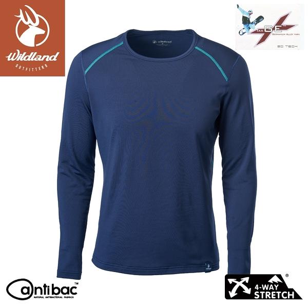 【Wildland 荒野 男 輕量鍺纖維親膚保暖衣《深藍》】W2668/機能衣/衛生衣/內搭