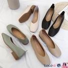 熱賣低跟鞋 豆豆鞋女2021新款粗跟溫柔仙女鞋春秋單鞋平底低跟一腳蹬奶奶鞋夏 coco
