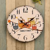 麥家居歐式復古客廳臥室家用壁鐘表創意簡約美式裝飾靜音木質掛鐘全館免運!