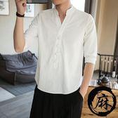 夏天佛系中國風麻布上衣短袖七分t恤男裝亞麻薄款亞麻體恤大呎碼胖【限時85折】